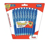 Pentel WOW! Retractable Ballpoint Pens, Medium Point, Blue Ink, 18 Pack (BK440BP18C)