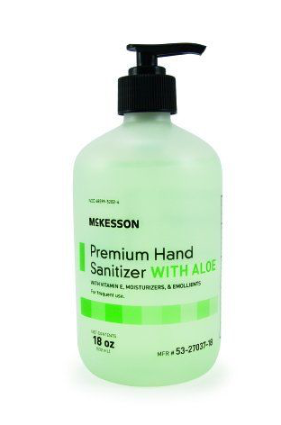 NEW! McKesson Premium Hand Sanitizer with Aloe 18 oz. Gel Pump Bottle -6 PACK