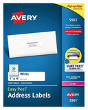 "Avery Easy Peel Laser Address Labels, 1"" x 4"", White, 20/Sheet, 250 Sheets/Box (5961)"