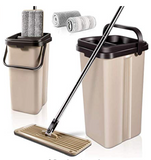 Self Wash & Dry Mop with 2 Pcs Mop Heads Free Hand Wash Microfiber Flat Mop and Bucket System