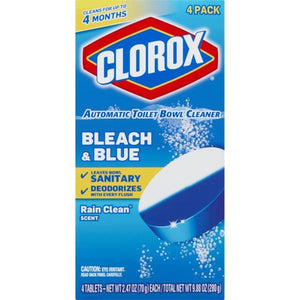 Clorox Automatic Toilet Bowl Cleaner, Bleach & Blue, Rain Clean Scent, 2.47 Ounces, 1 Pack, 12/Ct