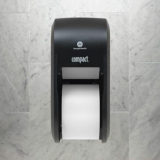 GP Compact® Black Vertical Double 2 Roll Toilet Paper Dispenser, 6.000