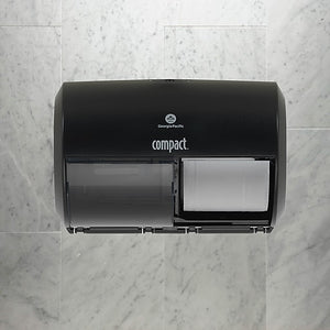 "GP Compact® Black Side-By-Side Double Roll Toilet Paper Dispenser, 10.120""W x 6.750""D x 7.120""H"