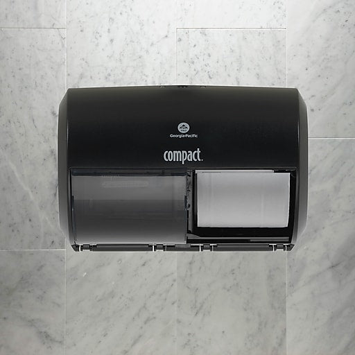 GP Compact® Black Side-By-Side Double Roll Toilet Paper Dispenser, 10.120