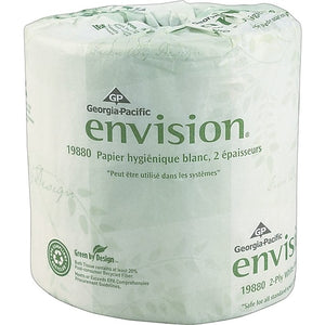 Georgia-Pacific Envision® Bath Tissue, Inner Wrapped, 2-Ply, 550 Sheets per Roll, 80/CT. ***Backordered until: Tuesday, Mar 31***
