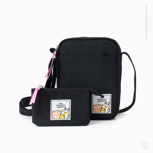 Pack morral + estuche doble negro
