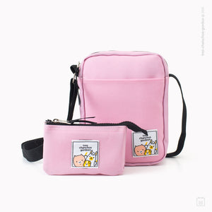 Pack morral + estuche doble rosado