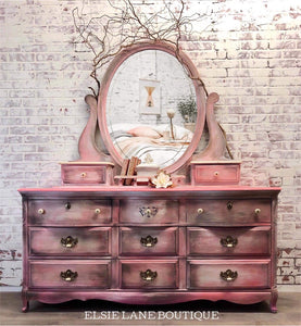 Blended Pink Nine Drawer Dresser with mirror/Shipping Included