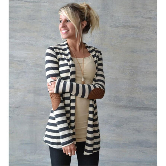 Striped Cardigan Jacket w/ Elbow Patches
