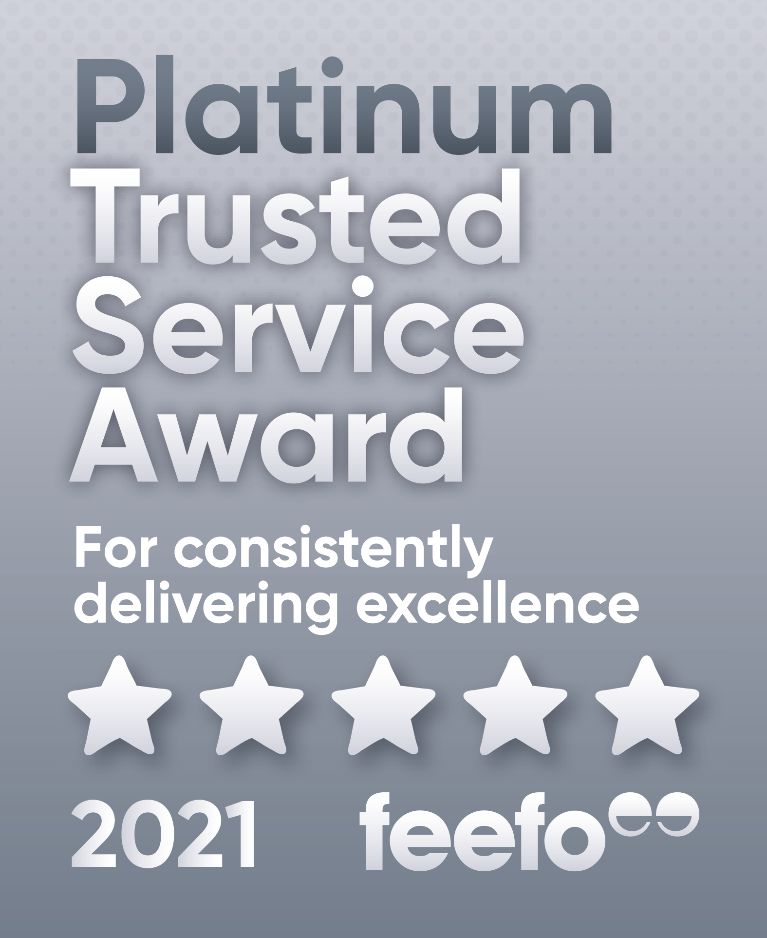 Feefo® Platinum Trusted Service 2021