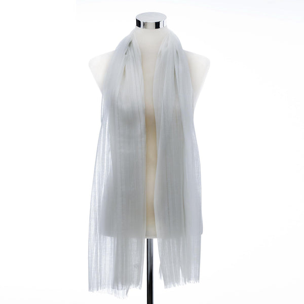 Linen Hijab Pleated- White