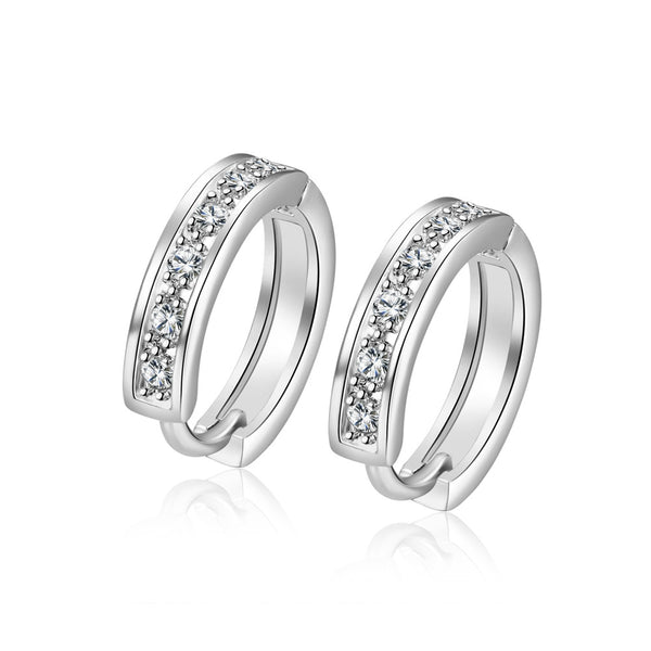 18K White Gold Plated Huggie Clip Earrings