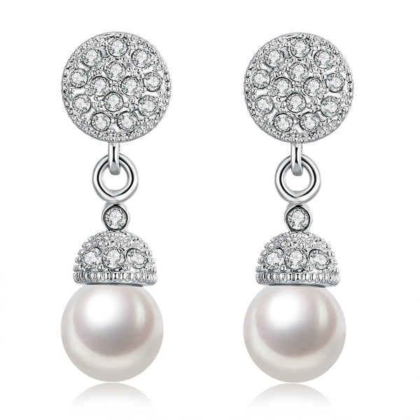 18K White Gold Pearl Drop Earrings