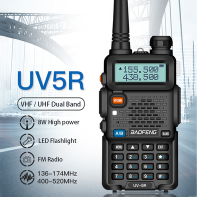 8W High Power Walkie Talkie Amateur Ham CB Radio Station UV-5R Dual Band Transceiver 10KM Intercom