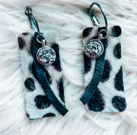 Black & Silver Dot Earrings