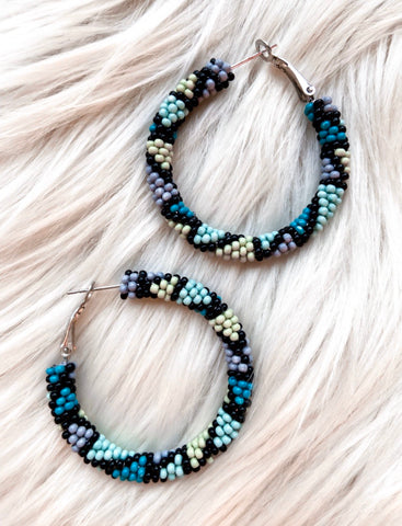 Shaded Teal Hoop Earrings