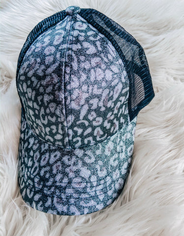 Leopard Sheen Ponytail Cap