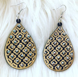 Wooden Rhinestone Earrings
