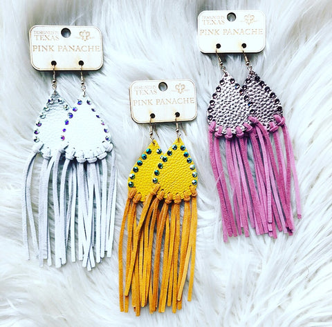 Pink Panache Leather Tassel Earrings