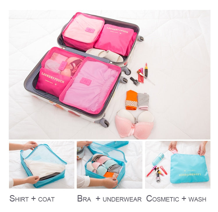 6 Pieces Set - Nylon Packing Cubes and Pouches