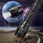 Waterproof 5 Mode LED Zoomable Focus Flashlight