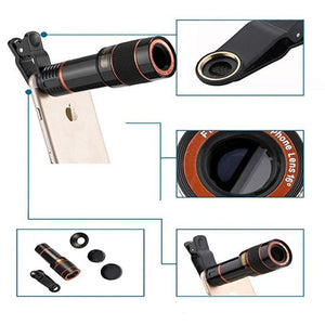Clip On 12X Zoom Cell Phone Camera Lens