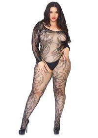 33653ff292 Spiral lace off the shoulder long sleeved bodystocking