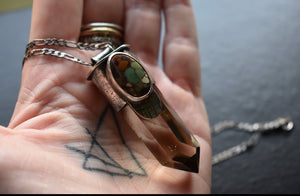 Smoky Quartz and Treasure Island Turquoise Talisman