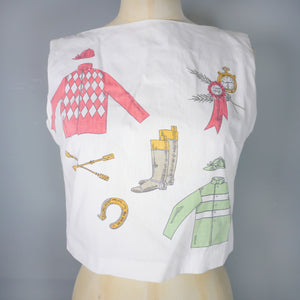 50s 60s WHIMSICAL NOVELTY HORSE RIDING THEMED CROPPED BLOUSE / SHIRT - XS