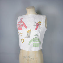 Load image into Gallery viewer, 50s 60s WHIMSICAL NOVELTY HORSE RIDING THEMED CROPPED BLOUSE / SHIRT - XS