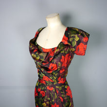 Load image into Gallery viewer, CEIL CHAPMAN 50s WIGGLE DRESS IN DARK RED FLORAL PRINT - S-M