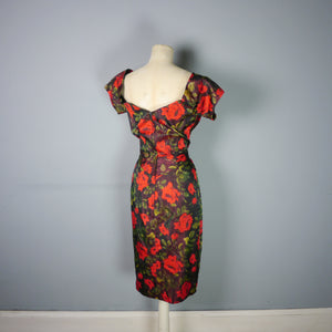 CEIL CHAPMAN 50s WIGGLE DRESS IN DARK RED FLORAL PRINT - S-M