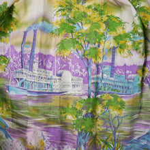 Load image into Gallery viewer, 50s NOVELTY BORDER PRINT NATCHEZ STEAMBOAT NEW ORLEANS DRESS - S