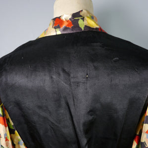30s SILKY BLACK WRAP BLOUSE WITH FLORAL BALLOON SLEEVES - XS-S