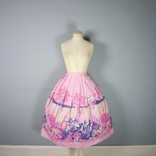 Load image into Gallery viewer, 50s PINK NOVELTY SKIRT IN PALM TREE AND DANCERS PRINT - 29""