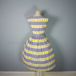 50s BLACK, WHITE AND YELLOW PRINT COTTON DAY DRESS  - XS-S