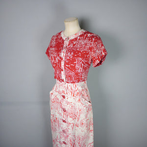40s RED WHITE NOVELTY DRESS AND BOLERO IN PARISIAN? CITY / STREET SCENE PRINT - S