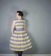 Load image into Gallery viewer, 50s BLACK, WHITE AND YELLOW PRINT COTTON DAY DRESS  - XS-S