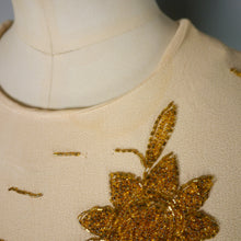 Load image into Gallery viewer, 40s EMBELLISHED HONEY AND GOLD CREPE DRESS - M