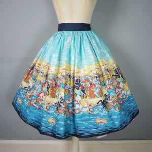 50s NOVELTY HISTORICAL ROMAN? BATTLE PRINT FULL SWING SKIRT - 28.5""