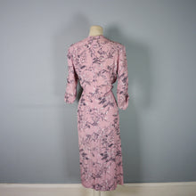 Load image into Gallery viewer, 40s DUSKY PINK AUTUMNAL LEAF PRINT DRESS BY ROSECROFT - M