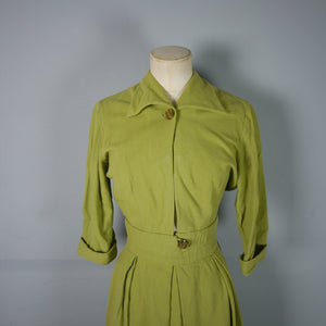 40s ART DECO PISTACCHIO WOOL 2 PIECE SUIT WITH CROPPED JACKET AND SKIRT - S
