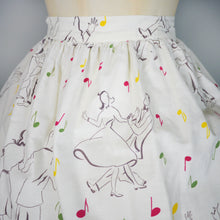 Load image into Gallery viewer, VINTAGE 50s ROCK n' ROLL DANCERS NOVELTY PRINT SKIRT - 30""