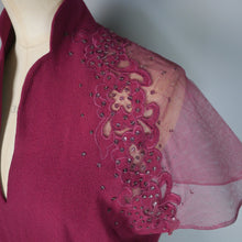Load image into Gallery viewer, 40s WINE COLOURED PLEATED CREPE EMBELLISHED EVENING DRESS - L / VOLUP