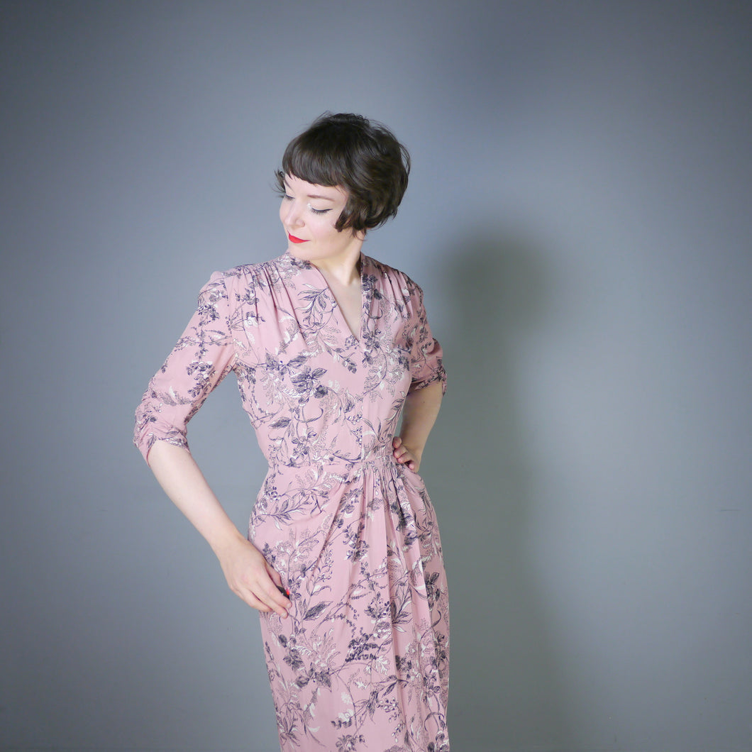 40s DUSKY PINK AUTUMNAL LEAF PRINT DRESS BY ROSECROFT - M
