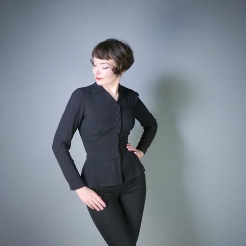 BLACK RAYON 40s BLOUSE WITH FLARED HIP AND RUCHING - S-M