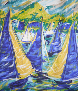 50s NOVELTY PAINTERLY SAIL BOAT NAUTICAL PRINT FULL SKIRT - 29""