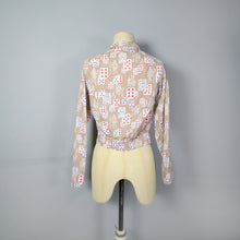 Load image into Gallery viewer, 50s NOVELTY PLAYING CARDS PRINT HANDMADE BLOUSE TOP - XS-S