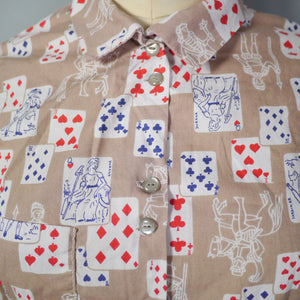 50s NOVELTY PLAYING CARDS PRINT HANDMADE BLOUSE TOP - XS-S