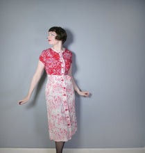Load image into Gallery viewer, 40s RED WHITE NOVELTY DRESS AND BOLERO IN PARISIAN? CITY / STREET SCENE PRINT - S
